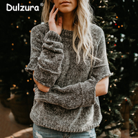 Autumn 2018 Cozy Chenille Sweaters Sexy Hollow Out Knitted Pullovers Thick Warm Long Sleeve Jumper Tops Fashion Pull Femme Hiver