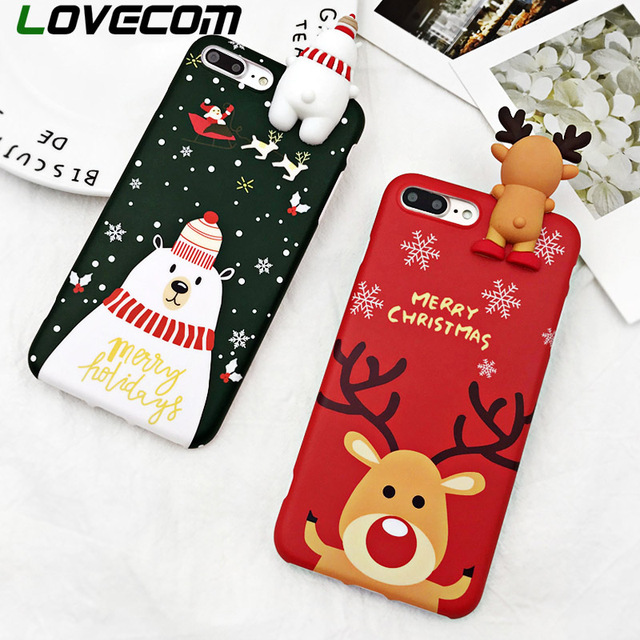 LOVECOM Phone Case For iPhone 6 6S 7 8 Plus X XS XR XS Max Cartoon Christmas Deer & Snowman Soft TPU Phone Back Cover Cases