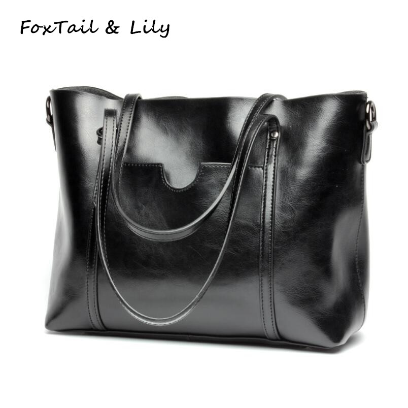 FoxTail & Lily Luxury Brand Designer Genuine Leather Handbags Women Messenger Bags Large Capacity Tote Shoulder Bag Shopping Bag foxtail & lily luxury quality ladies leather handbags women shoulder bag famous brand designer large capacity vintage tote bags