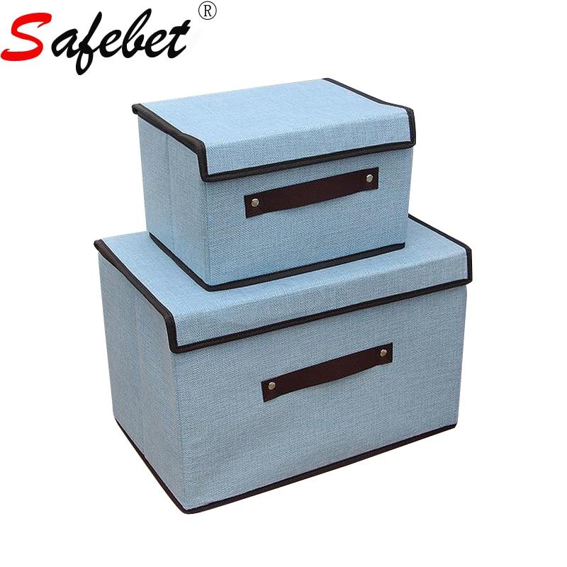 Caja de almacenamiento con tapa y mango de lino cuadrado grande y - Organización y almacenamiento en la casa