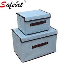 Kotak Penyimpanan Dengan Tudung Dan Mengendalikan Kecil Dan Besar Square Linen Pepejal Untuk Pakaian Mainan Kanak-kanak Home Folding Containers Korean Fashion