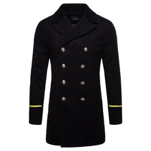 New Men Trench Coat Long Slim Fit Overcoat Jacket Classical