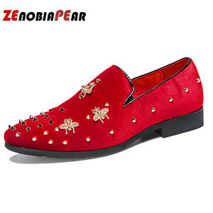 Men Loafers Dress-Shoes Mariage Pointed-Toe Formal Fashion Patent