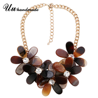 Necklace vintage Ethnic Acrylic Flower Pendant necklaces Choker Collar Chokers Maxi Pendant Collier Fashion Jewelry for women