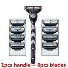 8pcs Razor Blades + 1pcs Handle, Face Care Shaving Razor Blade For Men Mache 3 Blades Shaving Machine blades beard trimmer