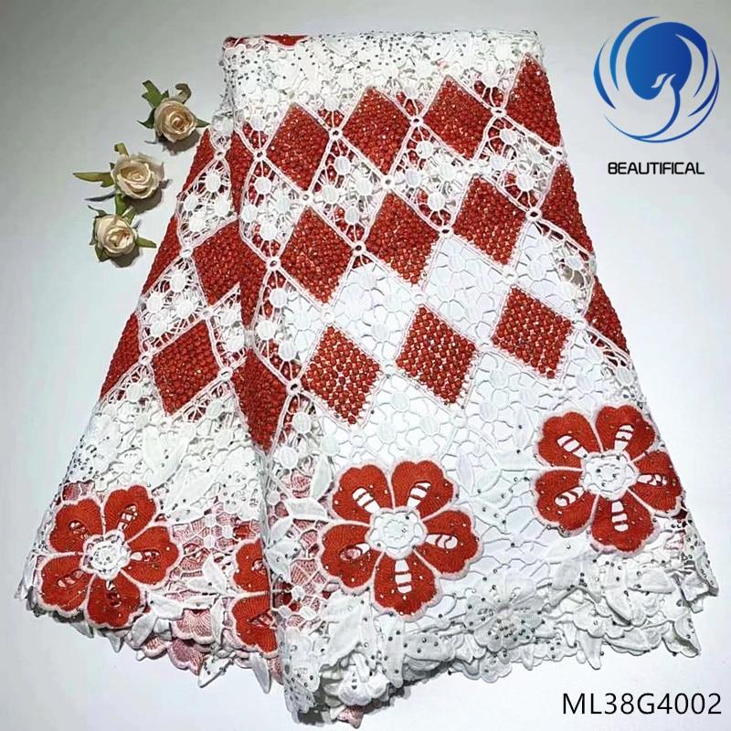 BEAUTIFICAL afryki przewód gipiury koronki tkaniny 2019 wysokiej jakości gipiury tkaniny afryki nigerii koronki ML38G40 w Koronka od Dom i ogród na  Grupa 1