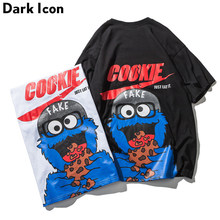 DARK ICON Cartoon T-shirts Men Short Sleeve 2019 Summer Streetwear Men's T Shirt High Street Cotton Tee Shirts Black White(China)
