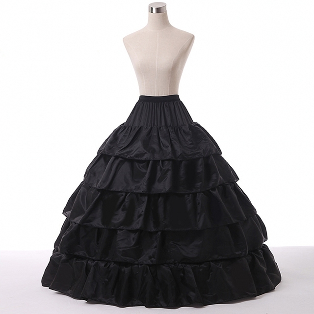 Free Shipping Black Petticoat Ball Gown 5 layers for In Stock Cheap Wedding Petticoat jupon underskirt enaguas