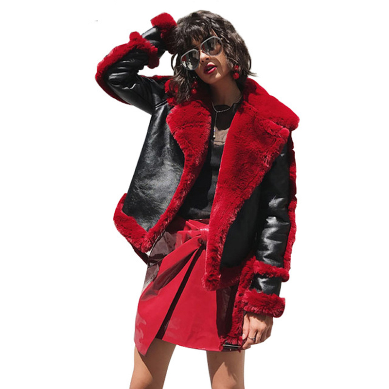 Women Autumn Winter Jackets Coats Fluffy Shearling Faux Fur Jacket Coat Red Fur Lining Leather Jacket Girls Women Warm Overcoats