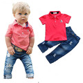 2017 summer kids polo shirt boys jeans trousers children boy red cotton short sleeve leisure jeans loose-fitting suit set DTZ327