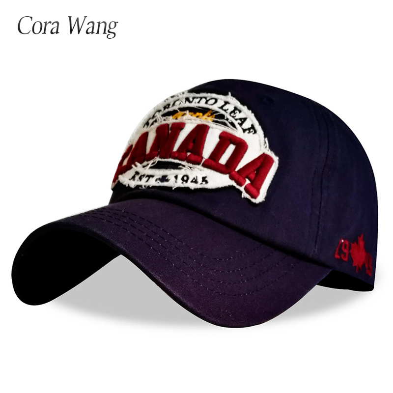 Cora Wang 2018 CANADA Baseball Caps Women Patch Dad Hat for Men Letters embroidered snapback cap Black cap Unisex cotton Leisure adjustable letters embroidered baseball cap