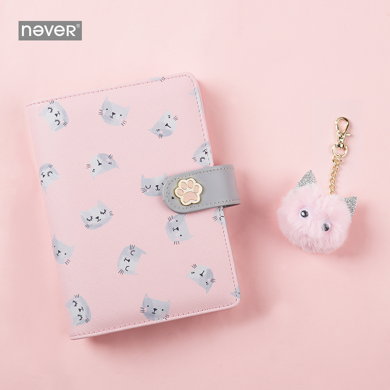 Never Cute Kitty Cat Spiral Notebook Korean Diary A6 Planner Organizer Grid Dotted Filler Paper Student Girls Gift Stationery-in Notebooks from Office & School Supplies