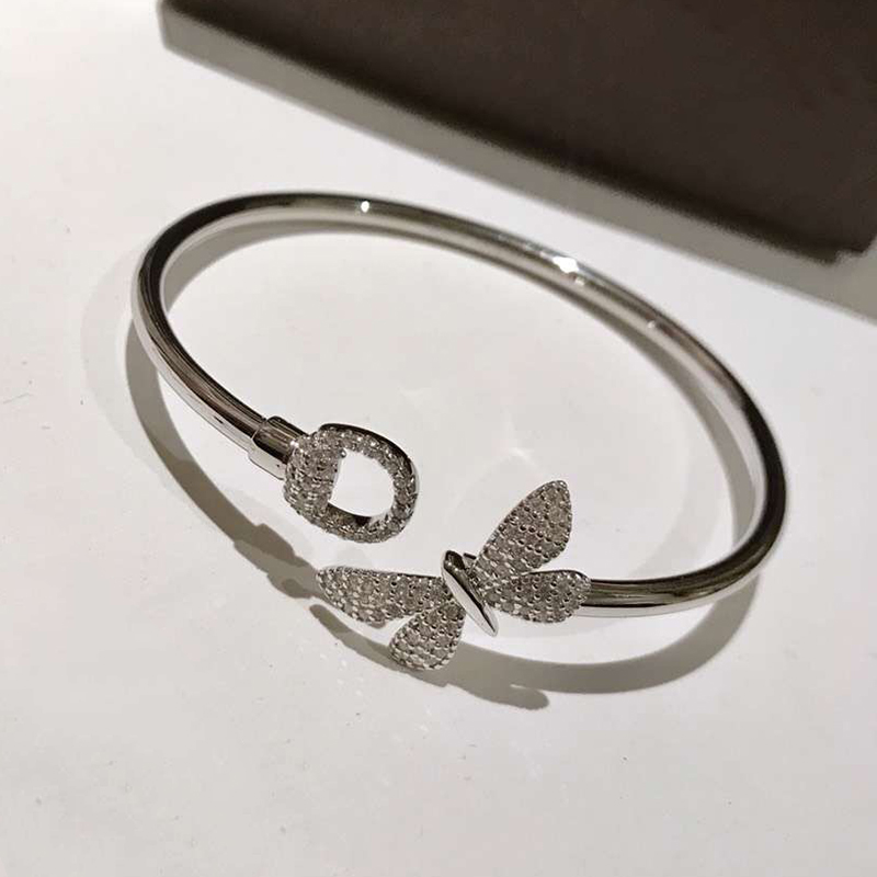New Brand Pure 925 Sterling Silver Jewelry For Women Butterfly Bangle Bowknot Flower Cuff Bracelet Fashion