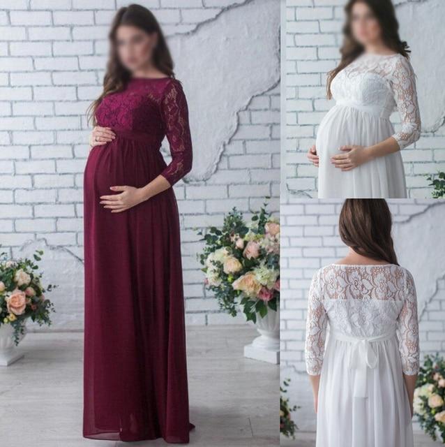 a7870af965 Fotografia Ciążowa Koronki Sukienka Sesji Zdjęciowej Prop Suknie
