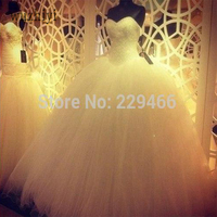 E55 White Ball Gown Custom Made China Tulle Princess Wedding Dresses Bridal Gown Bride With Train