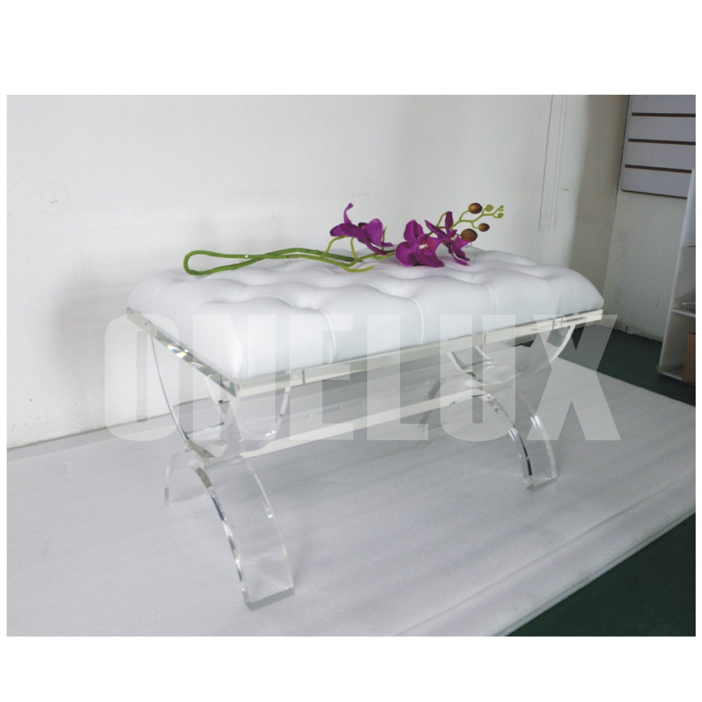 buy one lux acrylic cross legs plexiglass lucite vanity stool bench x based from reliable vanity stool suppliers on - Acrylic Bench