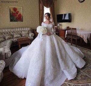 Image 2 - 2020 принцесса, роскошные ювелирные изделия из чистого кружевное свадебное платье в африканском стиле саудовско Аравийский Dubai длинный рукав церкви вечернее платье невесты свадебное платье размера плюс