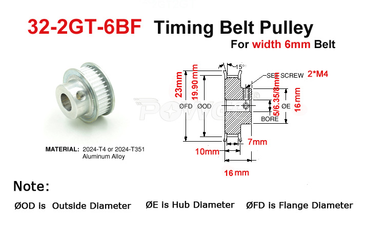 2Pcs 16T//20T GT2 Timing Pulley 5//6.35//8mm Bore For Belt Reprap 3D Printer Pp M4W