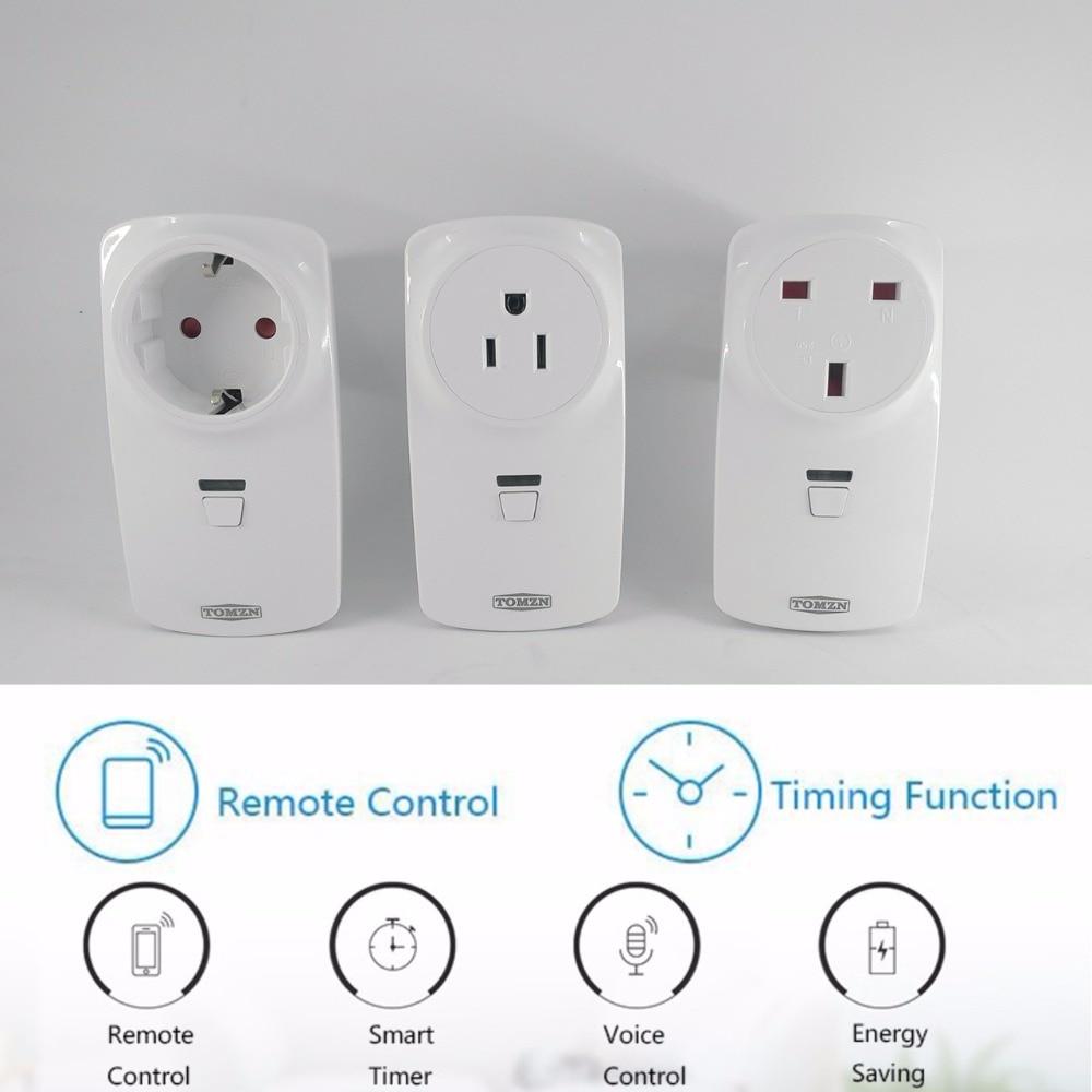 TOMZN Maison Intelligente plug minuterie 16A commutateur sans fil automatisation WIFI prise d'alimentation par téléphone travail avec Alexa google Amazon