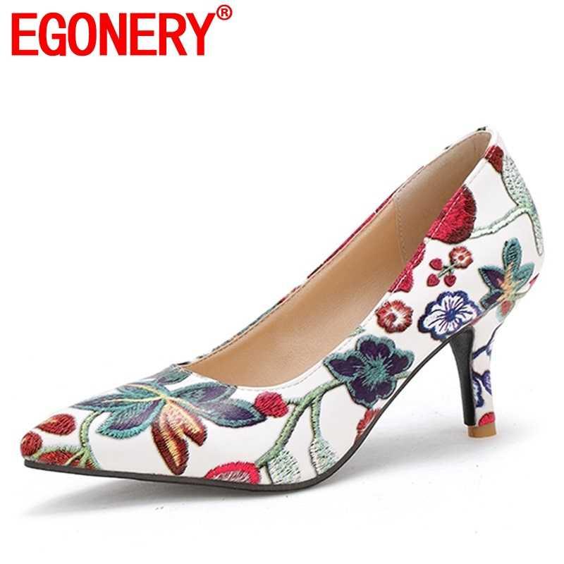 EGONERY 2019 frühling neue mode floral prin party frauen schuhe 7 cm dünne fersen spitz slip-auf flach frauen pumpen größe 33-43