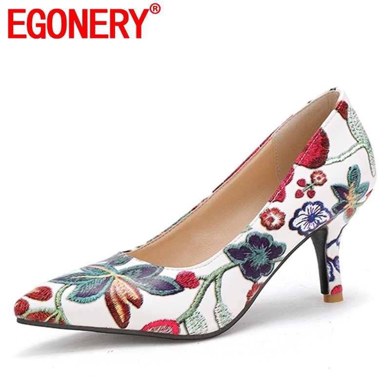 EGONERY 2019 Spring New Fashion Floral Prin Party Women Shoes 7 Cm Thin Heels Pointed Toe Slip-on Shallow Women Pumps Size 33-43