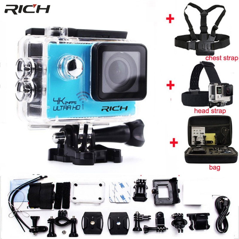 RICH Action Camera HD 4K 1080P 2.0 LCD Wifi Novatek 96660 Waterproof Helmet Diving Mini Cam Extreme Mini Sport Camera