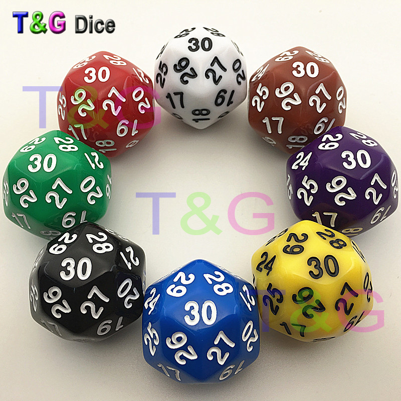 D30 Dice 8 Colors Red Blue Green Yellow Black Purple Brown White High Quality Plastic Cubes
