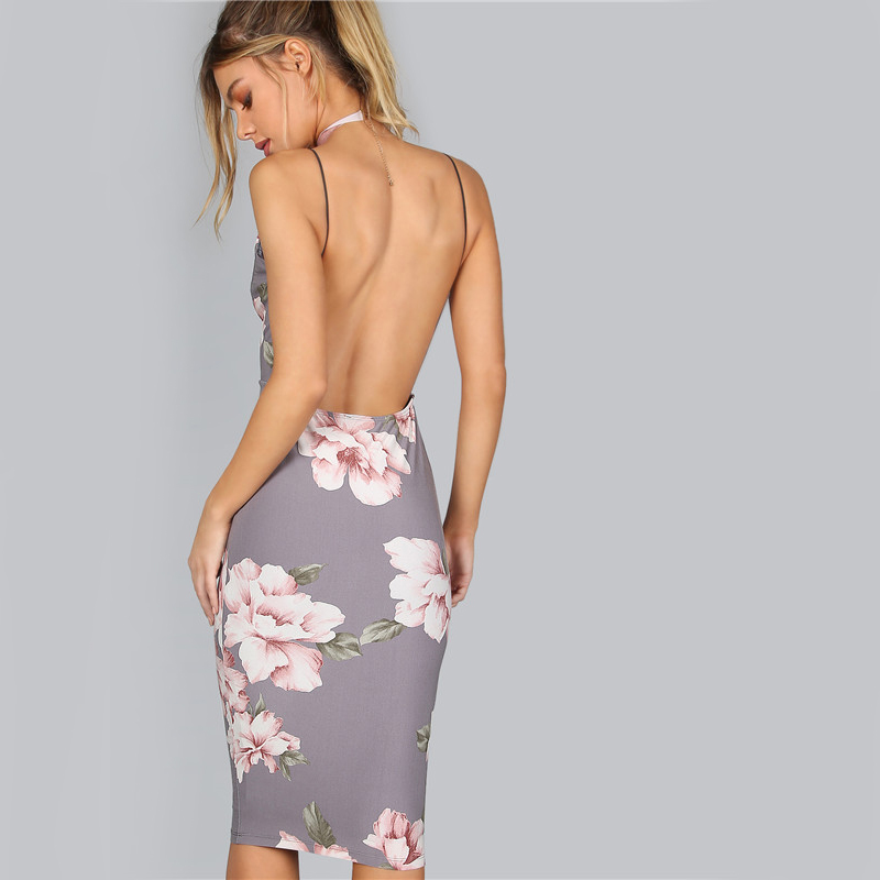 COLROVIE Bodycon Party Dress Women Grey Floral Sexy Backless Slip Summer Dresses 17 Fashion Plunge Neck Elegant Midi Dress 10