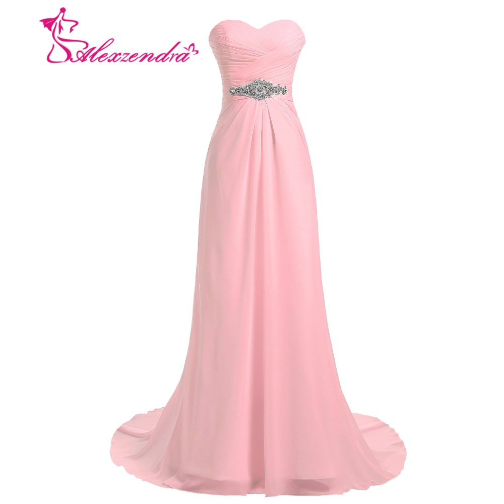 Alexzendra A Line Chiffon   Bridesmaid     Dress   for Wedding Strapless Party Gown Sweetheart Crystals   Bridesmaids