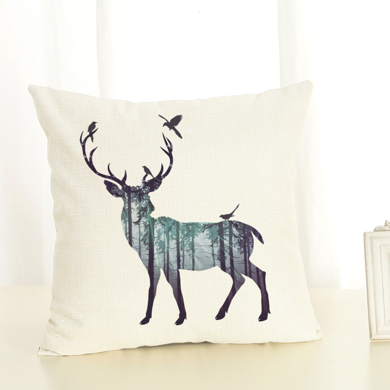 Animal silhouettes Series Printed Linen Cotton Square 45x45cm Home Decor Houseware Throw Pillow Cushion Cojines Almohadas