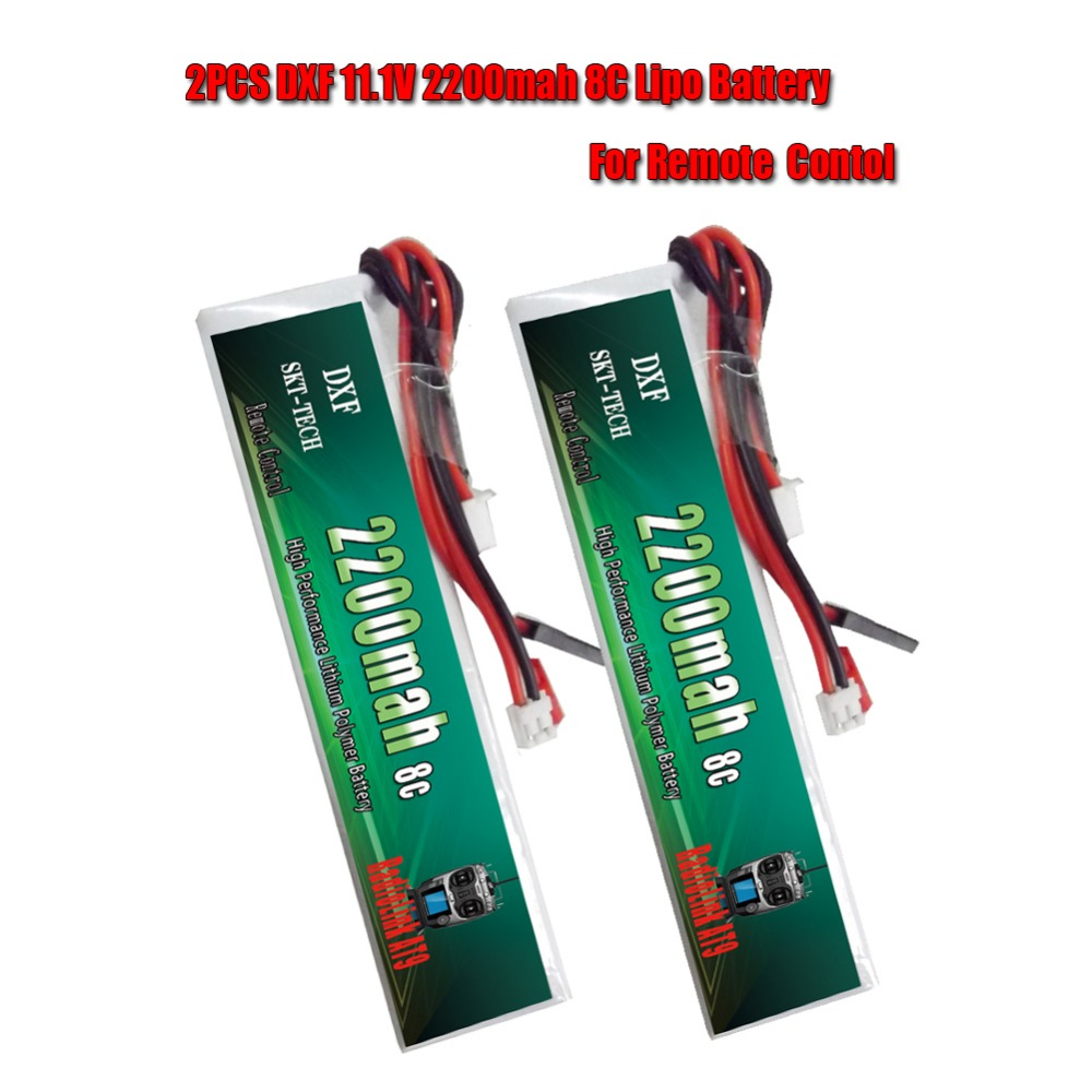 2PCS DXF <font><b>3S</b></font> RC <font><b>Lipo</b></font> Battery 11.1V <font><b>2200mAh</b></font> 8C max 16C Akku <font><b>Bateria</b></font> For Transmitter Receiver image