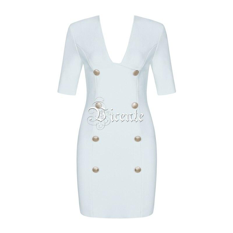 Bouton Bandage Courtes Robe Nouveau Club blanc Col Manches Carré Vicente 2019 Style Conception Party Star Noir Mini wCt7nFq