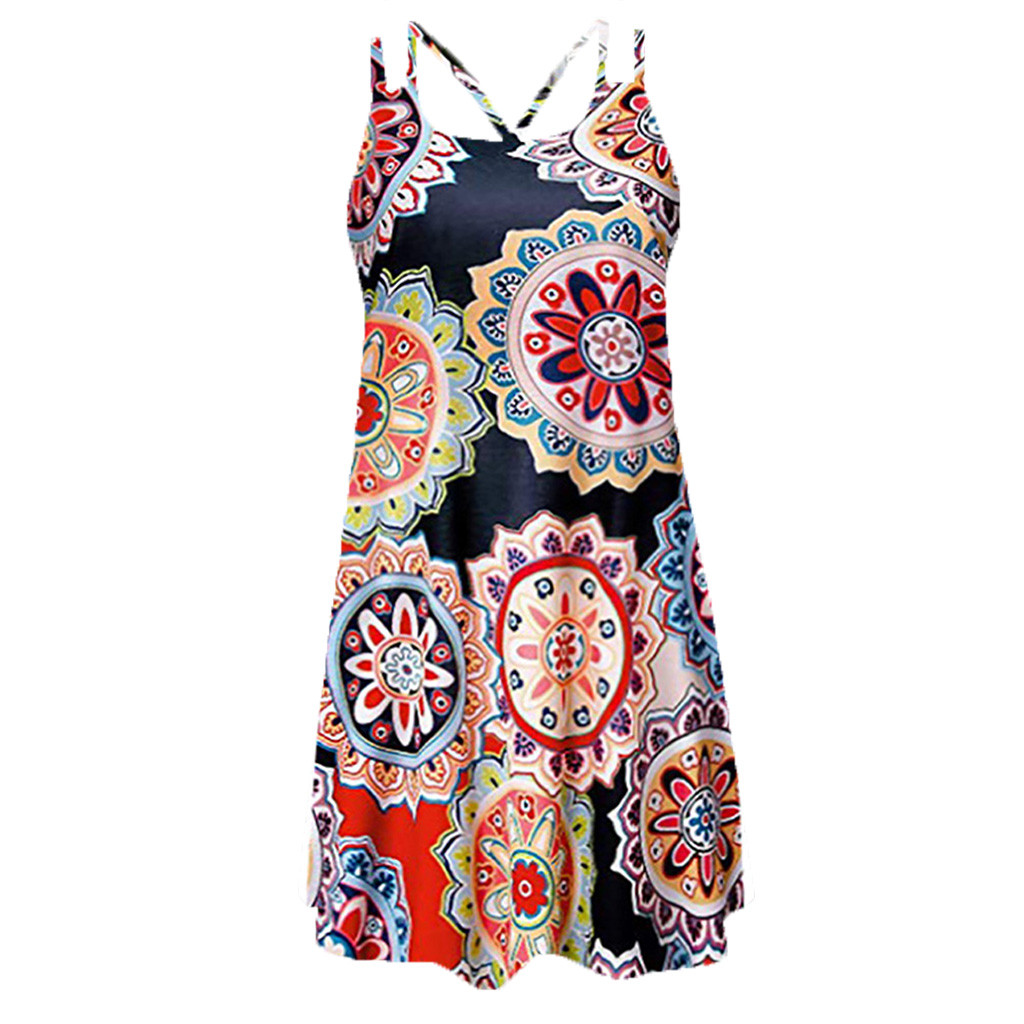 HTB108qyPpzqK1RjSZFvq6AB7VXaz Vintage Boho Women Summer Dress Sleeveless Beach Flower Printed Short Mini dresses woman party night beach dresses vestidos NEW