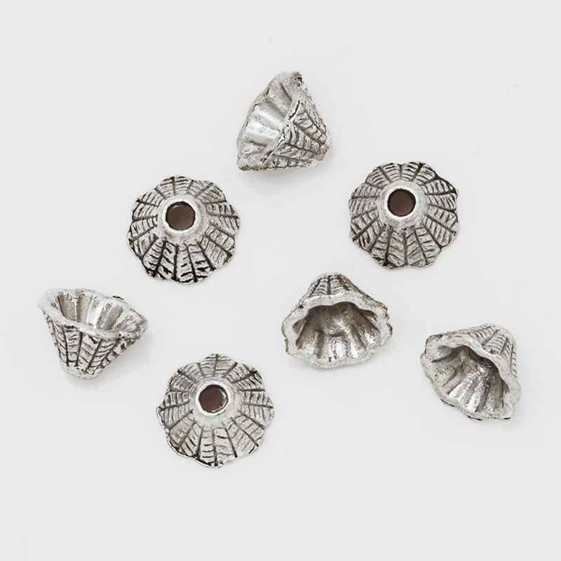 FENGLANG Tibetan Antique Silver Cone Bead Caps End Beads Findings U Pick Style Gold, 10x7mm 100pcs