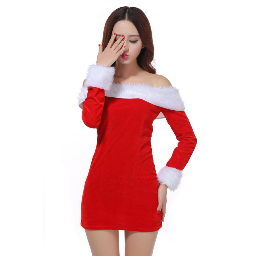 Where to buy christmas dresses - Winter Women Dress Sexy Santa Christmas Girl Costume Fancy Dress Xmas Office Party Outfit Nylon Spandex