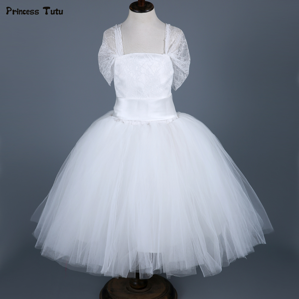 Custom Lace Tulle Girls Princess Dress White Kids Party Pageant Ball Gowns Tutu Dress Children Girls Wedding Flower Girl Dress gorgeous lace beading sequins sleeveless flower girl dress champagne lace up keyhole back kids tulle pageant ball gowns for prom