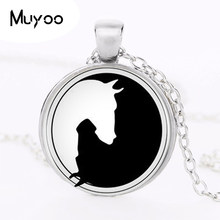 1pcs/lot Yin Yang Horse Logo 2Styles Silver Pendant Necklace Long Chian Statement Handmade Necklace For Women HZ1(China)