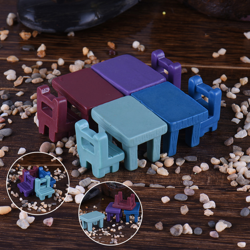 Mini Tables Chairs Furniture Figurine Crafts Landscape Plant Miniatures Decors Lovely Fairy Resin Garden Ornaments Garden supply