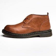 Split Autumn Winter Vintage Motorcycle Boots Male Leather Chukka Shoes MenS Ankle 7#28D50