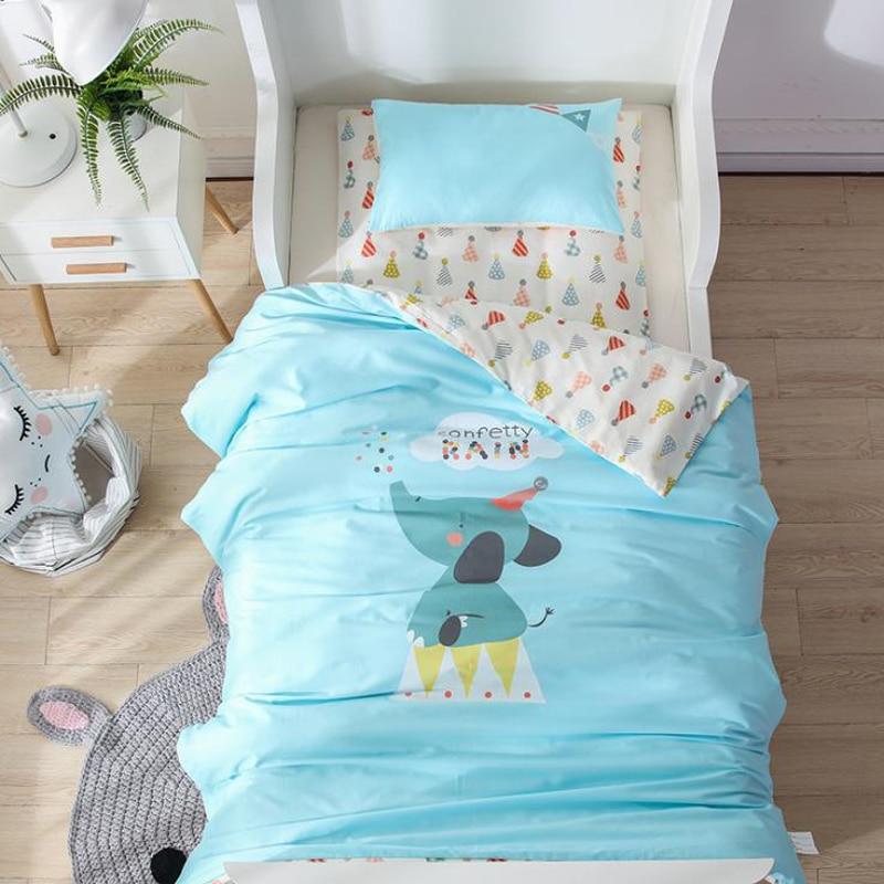 2018 Cartoon Elephant Blue Children Kids Baby Crib Bedding Set 3Pc Twin Size Cotton Fabric Duvet Cover Mattress Cover Pillowcase