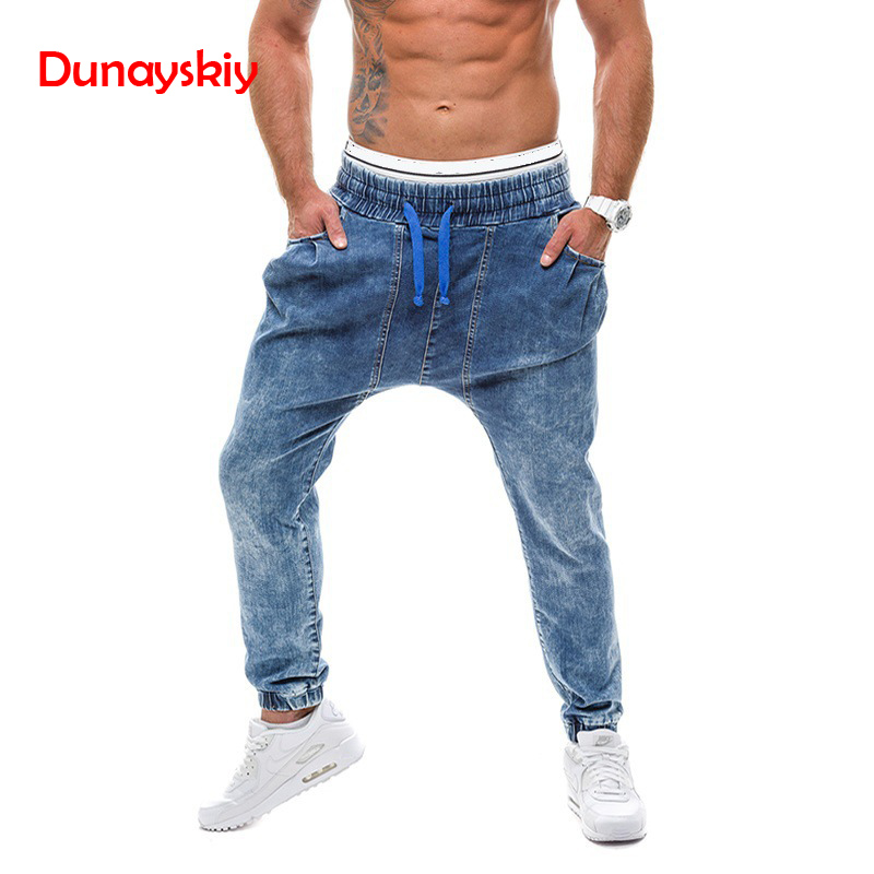 2020 Hip Hop Streetwear Blue Jeans Haren Pants Male Jeans Demin Trousers Sweatpants Denim Long Pants Joggers Men Plus Size