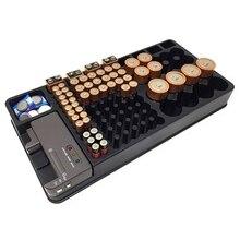 Przechowywanie baterii Organizer z Tester baterii Caddy skrzynia Rack Box posiadacze w tym bateria Checker do AAA AA C D 9V