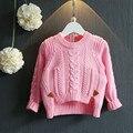 Зима девочка свитера и пуловеры Рождество свитер для девочек Конопли цветы шаблон Розовый Красный Сплит трикотажные свитера для 2-7Y