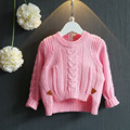 Winter Baby girl sweaters and pullovers Christmas sweater for girls Hemp flowers pattern Pink Red Split knitted sweater for 2-7Y