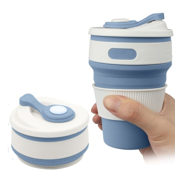 Folding Silicone Portable Coffee Cup Travel Telescopic Collapsible Drinking Cup Leakproof BPA Free Water Cups
