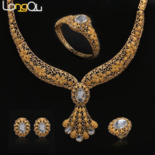 African Beads Jewelry Sets Summer Style Wedding Accessories Fine Crystal Gold-color Bridal Necklace Bracelet Earrings Rings Set(China)
