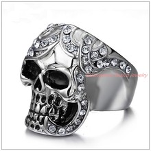 New Fashion Inlaid Crystal Gift 316L Stainless Steel Silver Rings Men's Punk Skeleton Skull Biker Jewelry Size 8-12 Fine Carving