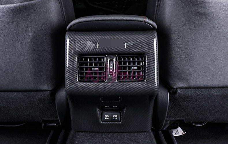 2018 Interior Carbon Fiber Color Rear Seat Air Conditioner Panel Vent Cover Chrome Car Styling For Toyota Camry Accessories