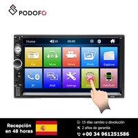 Podofo Car radio 2 Din 7'' HD Player MP5 Touch screen Digital stereo FM radio semi automatic Bluetooth with Rear view camera
