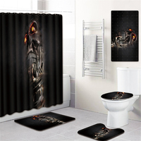 5Pcs/Set 3D SKull Shower Curtain Bath Rug Set Toilet Cover Bath Mat Set Bathroom Accessories Curtains With Hooks